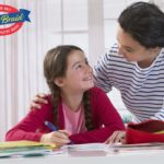 How to Get Parents Involved in Fundraising - Butter Braid Pastry Logo - Mom helping Kid at a desk with school supplies