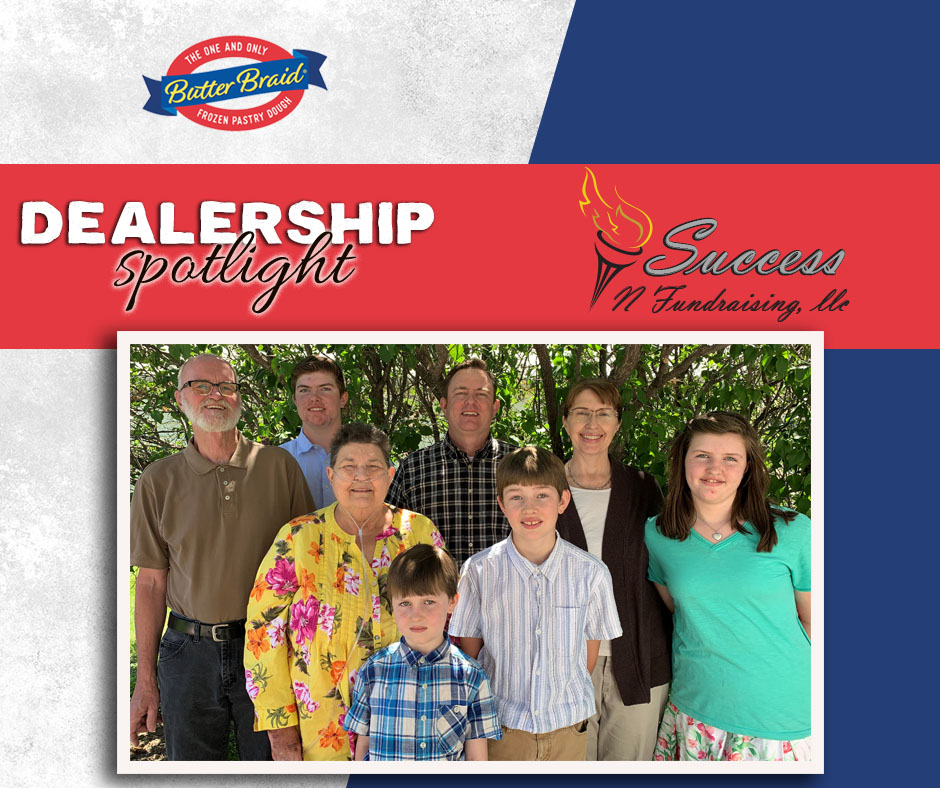 Success N Fundraising logo and picture of Sinnema family with Butter Braid Pastry logo