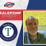 Sweet T Fundraising Dealership Spotlight - Terry Edwards with dealer logo and butter braid log on gray and blue background