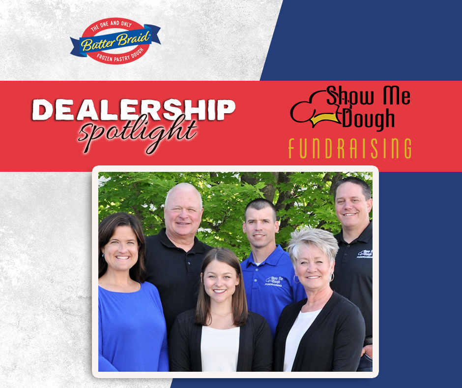 Show Me Dough Fundraising Dealership Spotlight - 6 members of the fundraising team with dealer logo and butter braid log on gray and blue background